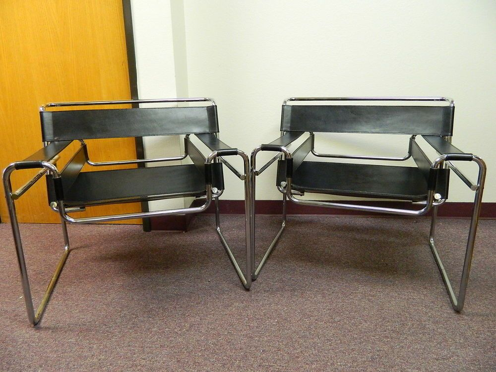 Vintage Pair of Black Leather + Chrome Wassily Chairs by