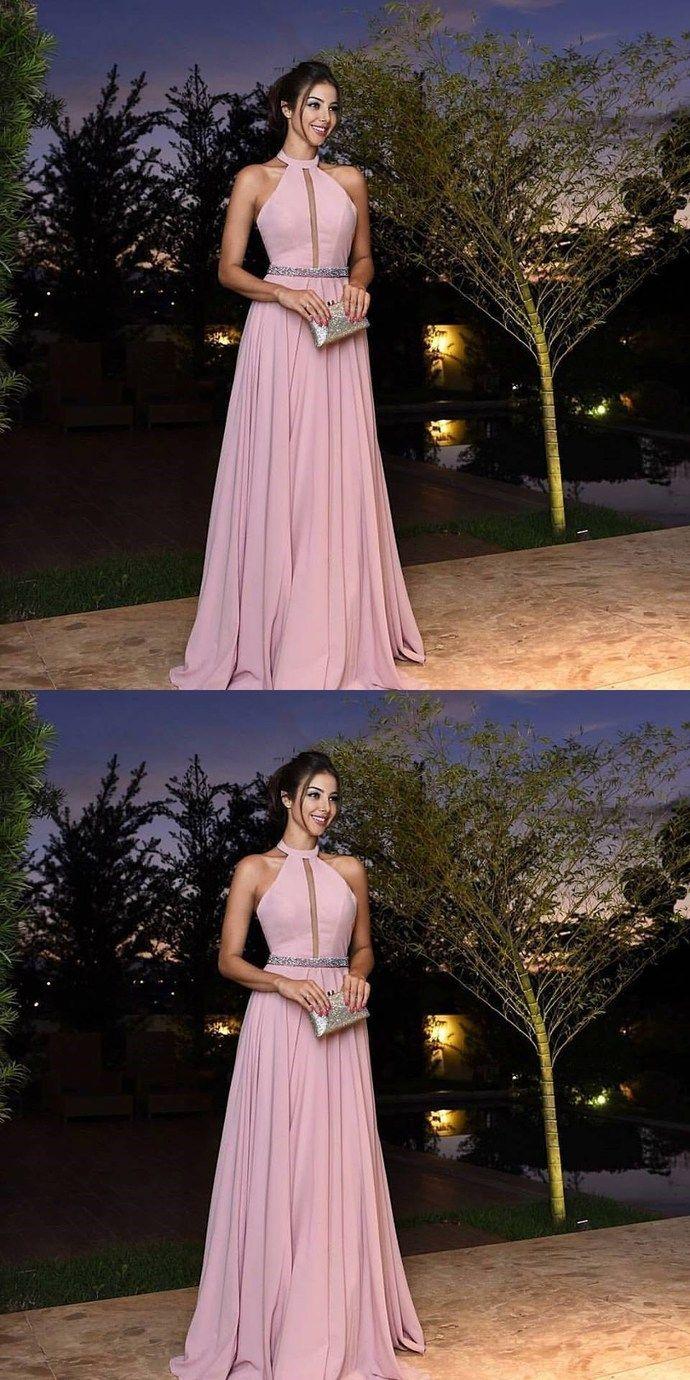Halter long prom dress formal beaded evening dress bd meu
