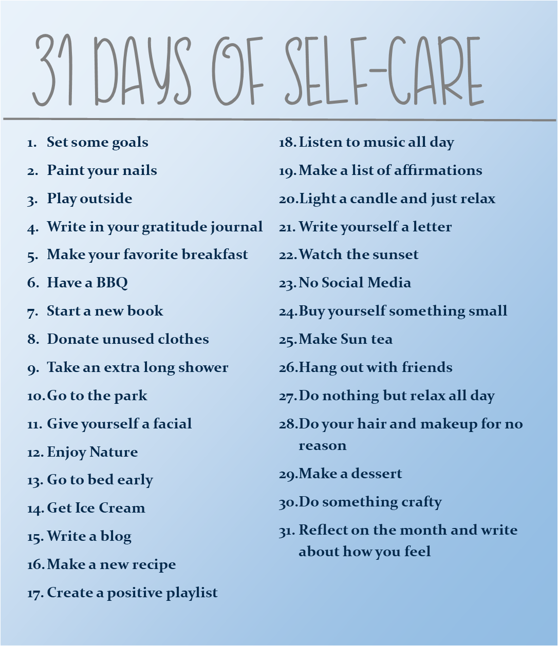 31 Day Self Care Challenge Personal Enrichment Goals