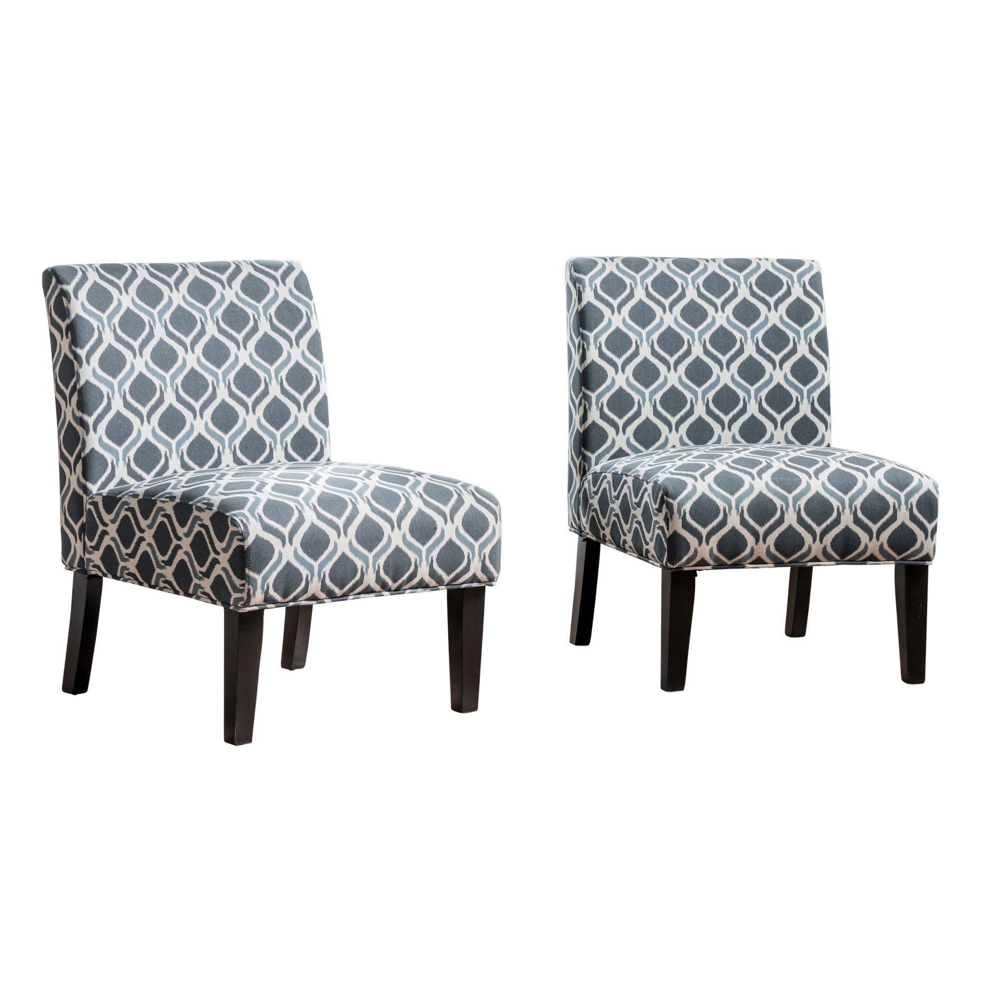 Kassi Accent Chair Blue Cream Set Of 2 Christopher Knight
