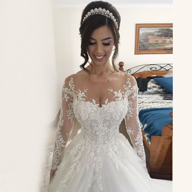 Ball gown illusion jewel long sleeves wedding dress with beading ball gown illusion jewel long sleeves wedding dress with beading appliques junglespirit Images