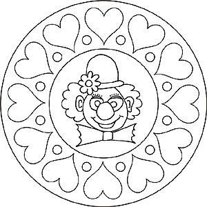 Mandala Clown Mit Herzen Kunstunterricht Zirkus Ausmalen Und