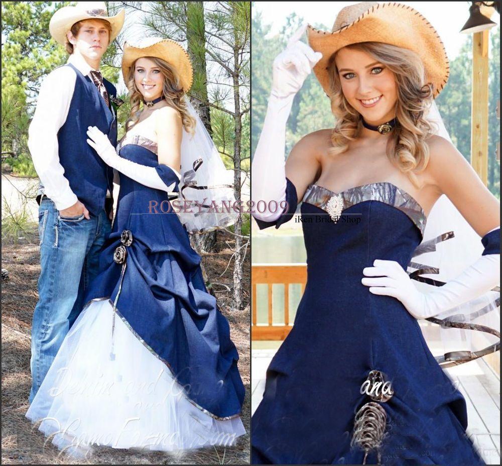 New Cowboy Blue Denim Camo Wedding Dresses Maid of Honor Country ...