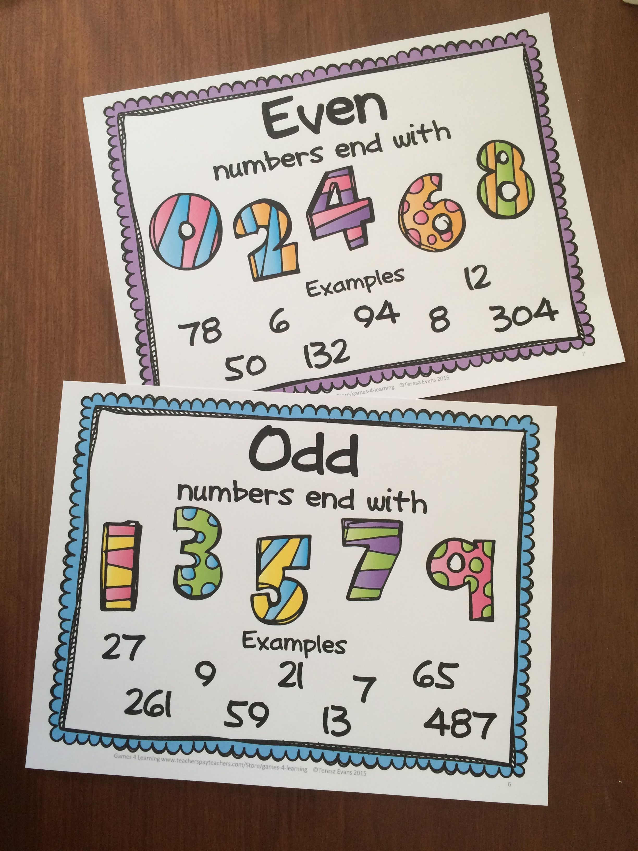 Free Even And Odd Numbers Posters And Clip Cards