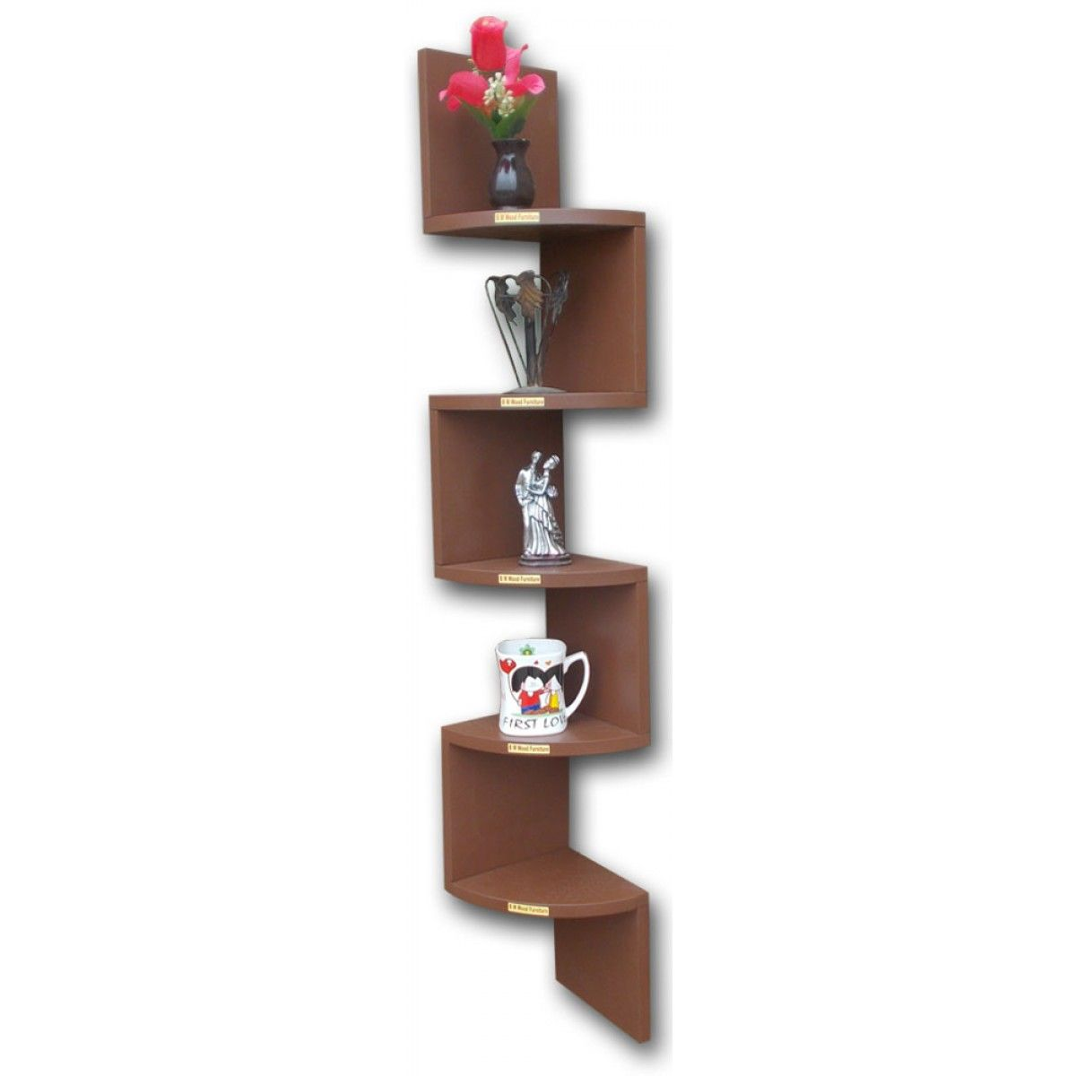 Curved Wall Shelves Bm Wood Furniture Zigzag Shaped 5 Curved Wall Corner Shelf Home