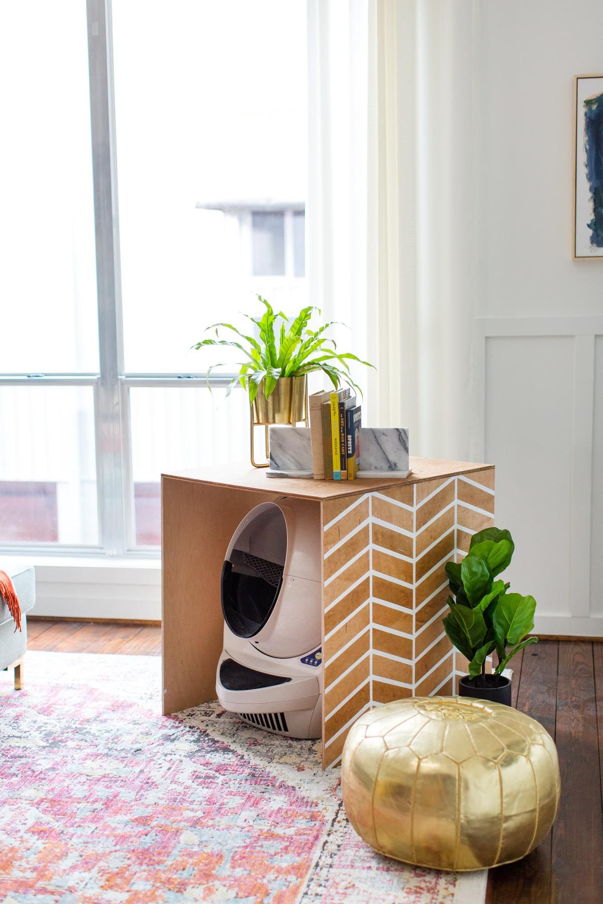 Patterned Diy Litter Box Cover By Top Houston Blogger Ashley Rose Of Sugar Cloth
