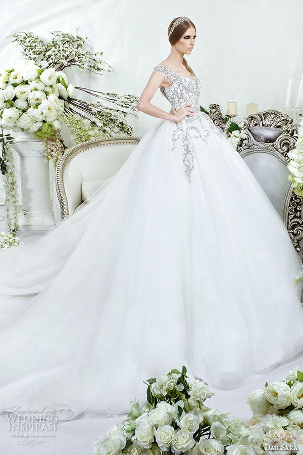 Dar Sara Bridal 2016 Wedding Beautiful Thick Embroidered Strap Bodice Tulle Ball Gown
