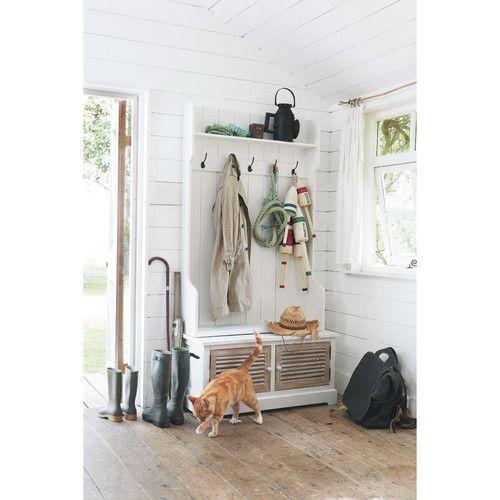 Mueble de entrada con 5 colgadores de madera blanco l 96 cm - Mueble entrada segunda mano ...