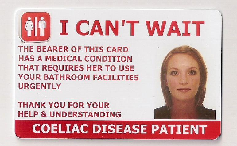 Coeliac Patient Toilet Access Card Inflammatory bowel