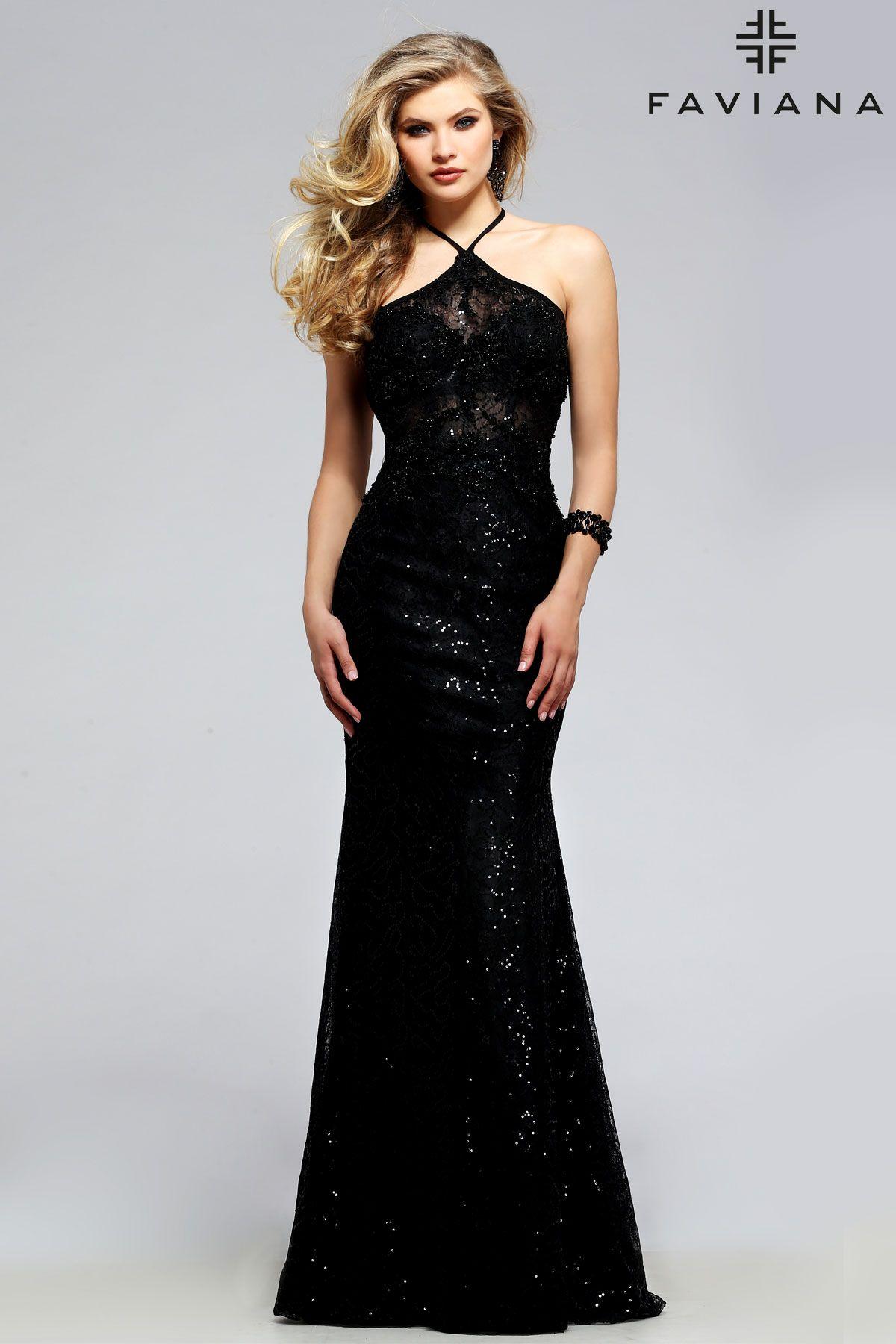 Sequin Halter Faviana Style S7713 Faviana Evening Dresses