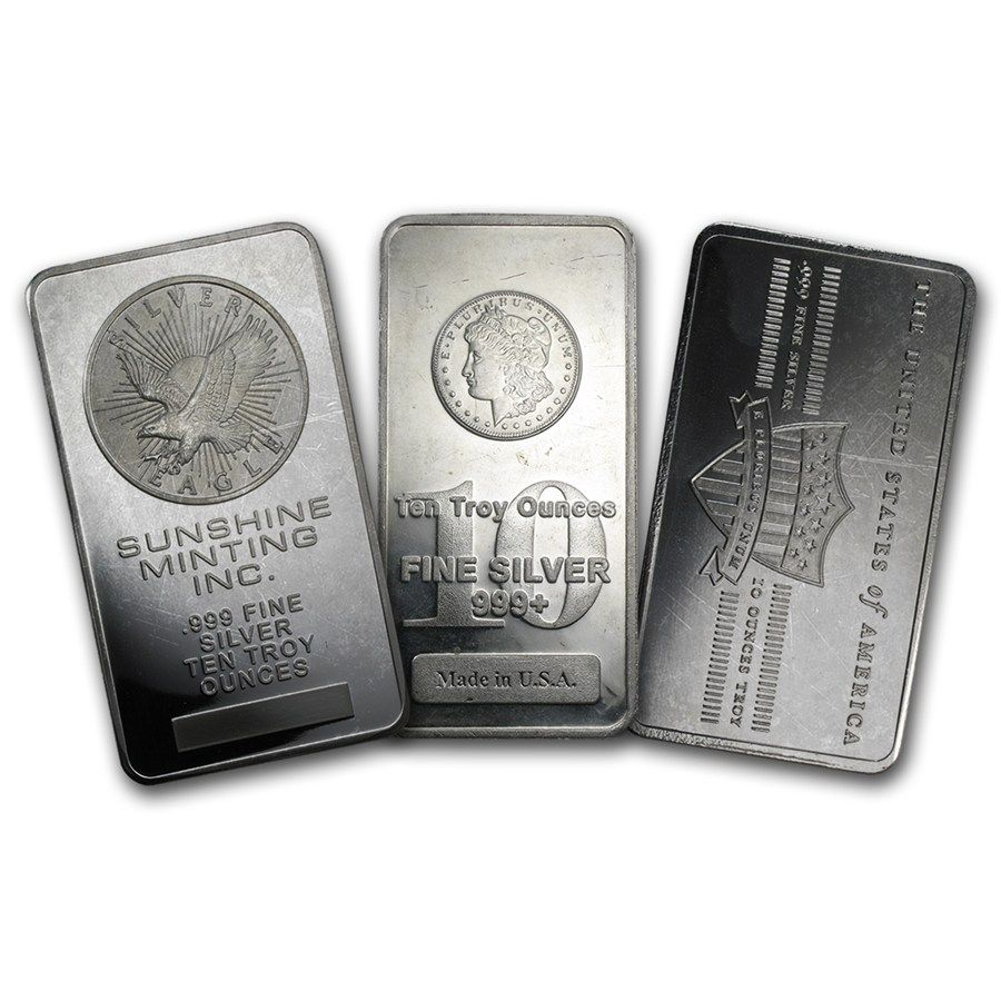 10 Oz Silver Bars Various Brands