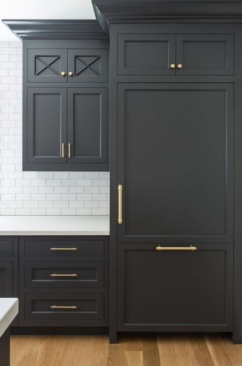 Matte Black Cabinets With Gold Hardware