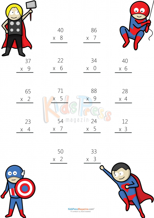 Multiplying 2 Digits by 1 Digit 3 – Free 2 Digit Multiplication Worksheets