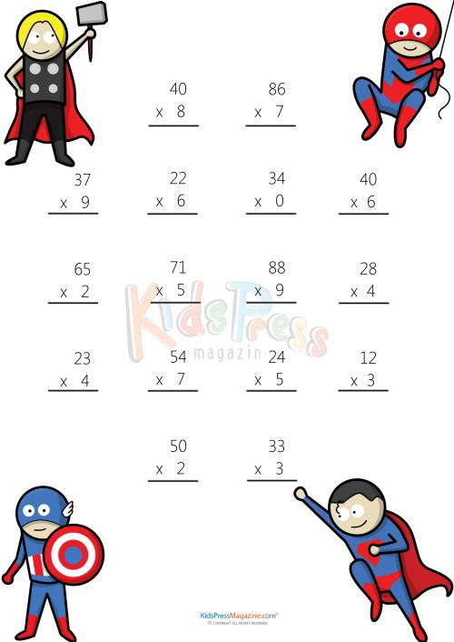 Multiplying 2 Digits By 1 Digit 3 Math Multiplication Worksheets