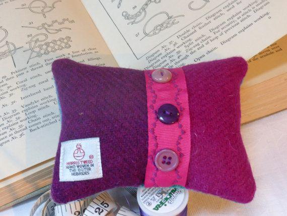 Harris Tweed Pincushion by TheFabulousMrG on Etsy, $16.00