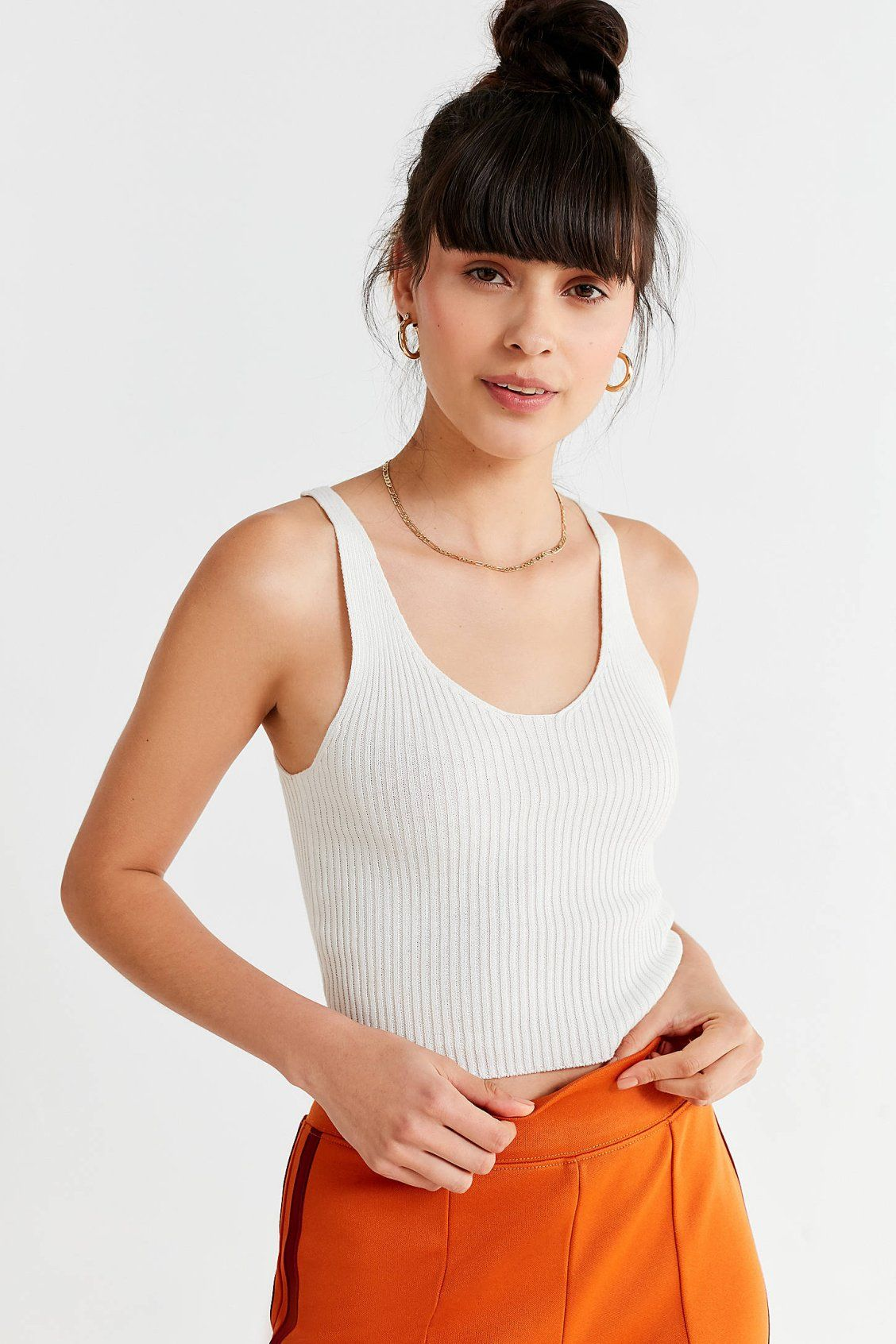 d88add82989 UO Ruth Ribbed Sweater Tank Top in 2019