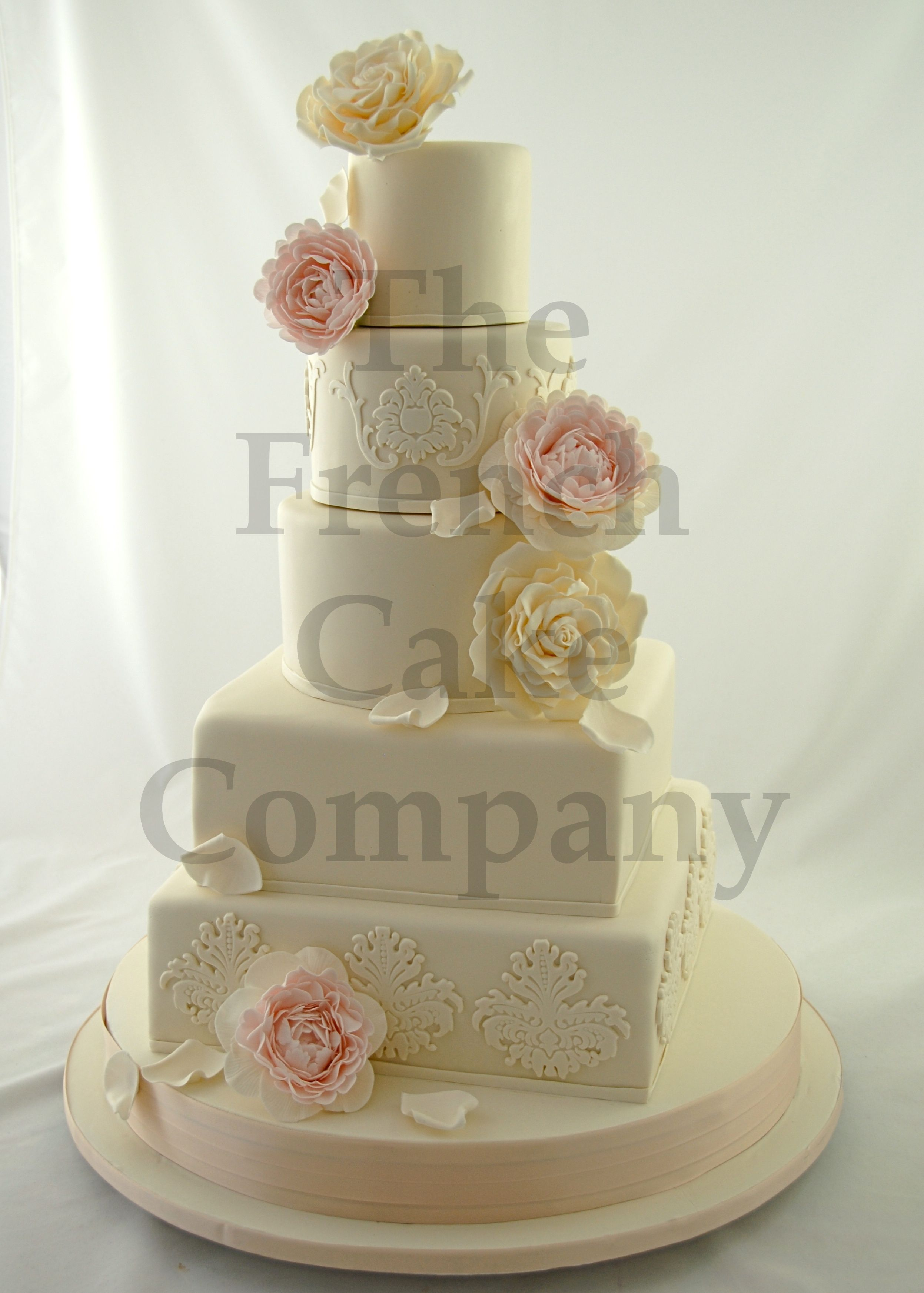 Wedding cake pink and white flowers piece montee mariage for Piece montee decoration