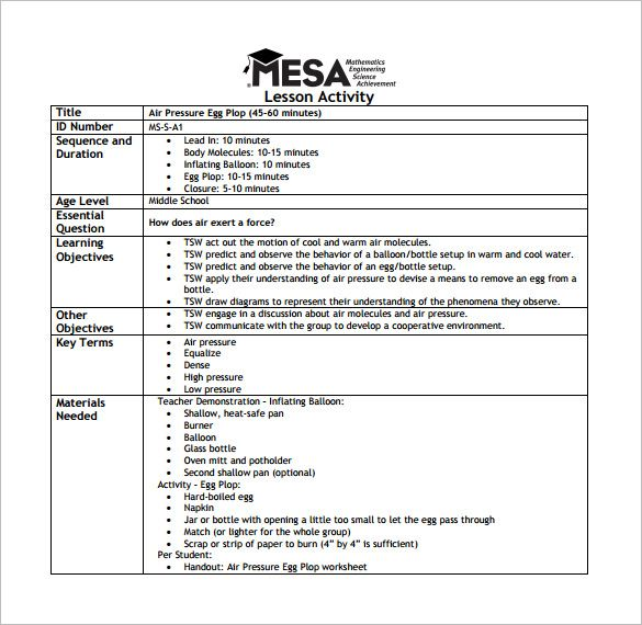 Middle School Lesson Plan Template Template Sample Resume