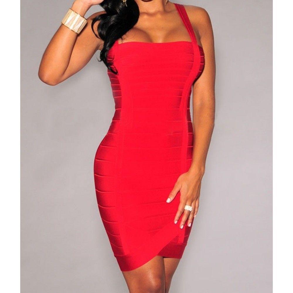 Vestido Bandage Rojo Escote Recto