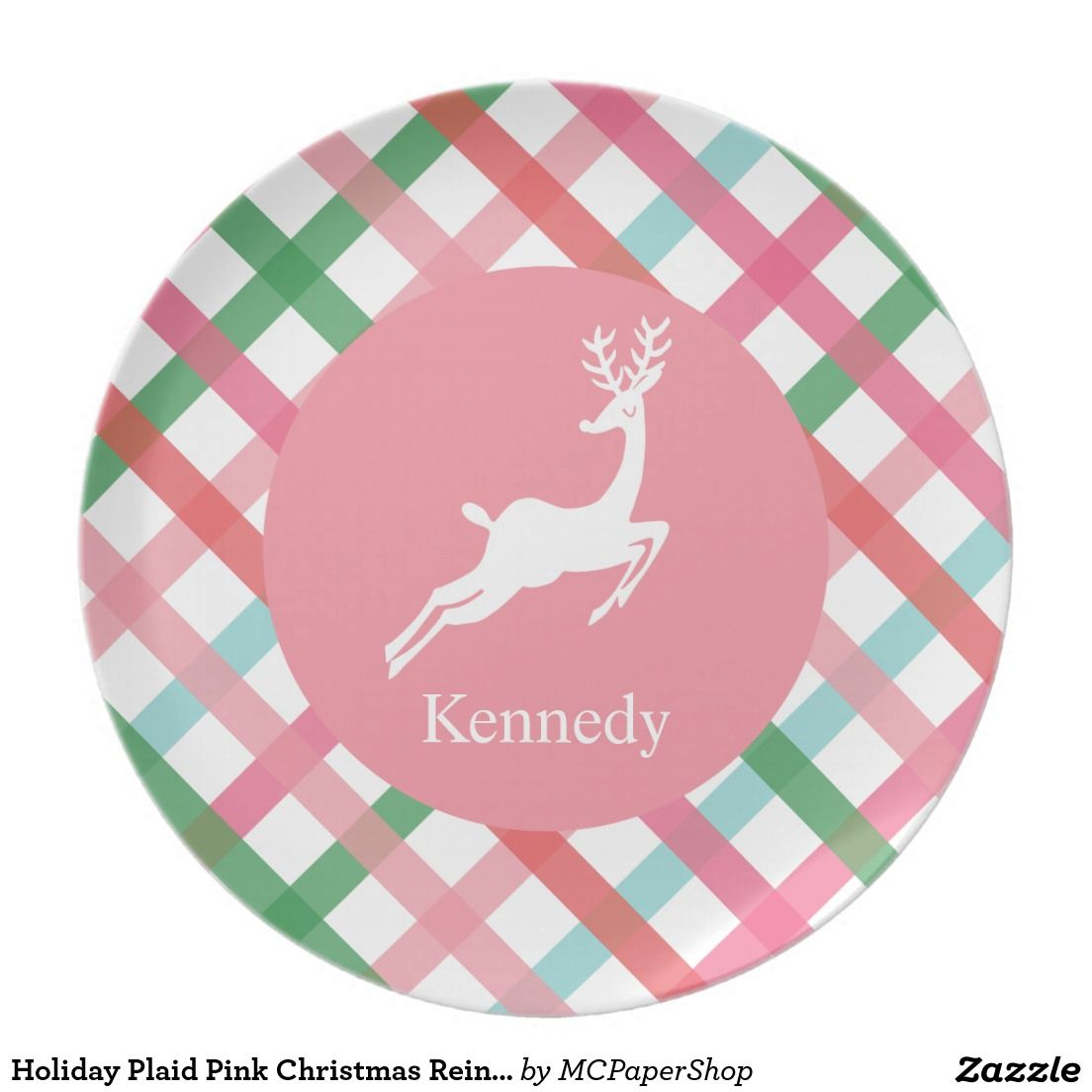 Holiday Plaid Pink Christmas Reindeer Personalize Melamine Plate  sc 1 st  Pinterest & Plaid Pink Christmas Reindeer Personalize Melamine Plate