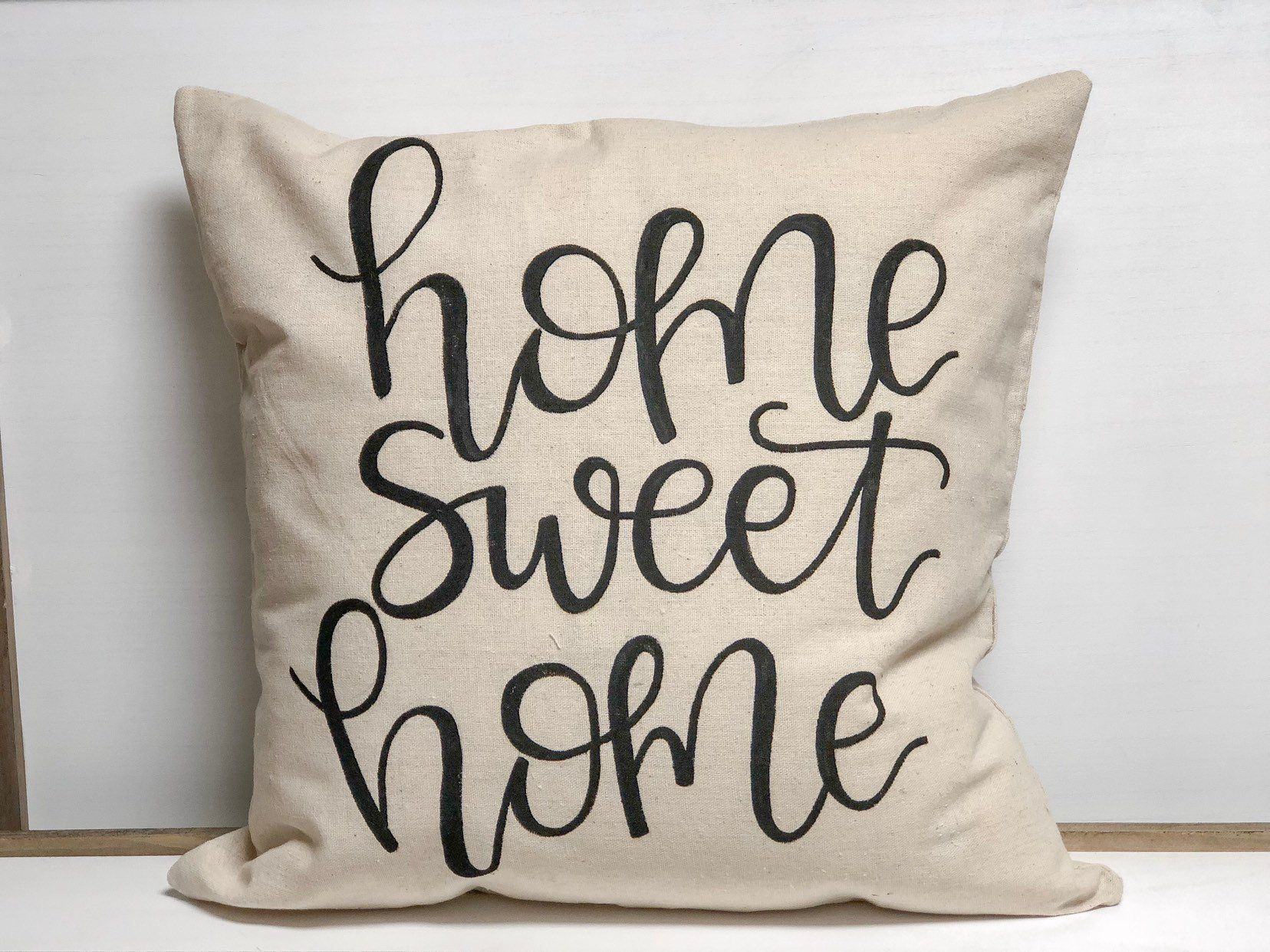 Handpainted Home Sweet Home Pillow Cover, Pillow, Home