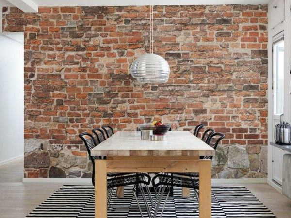 Brick wallpaper dining room design