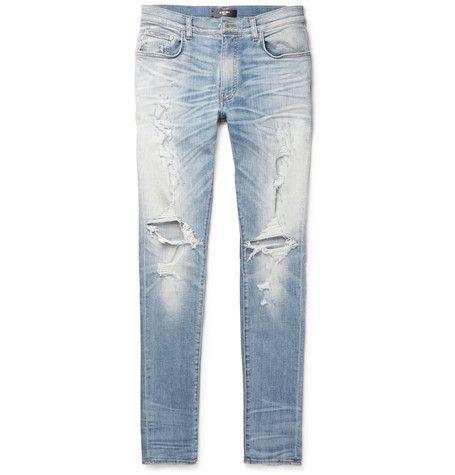 Thrasher Skinny-fit Distressed Printed Stretch-denim Jeans Amiri JyXQYeIjjJ