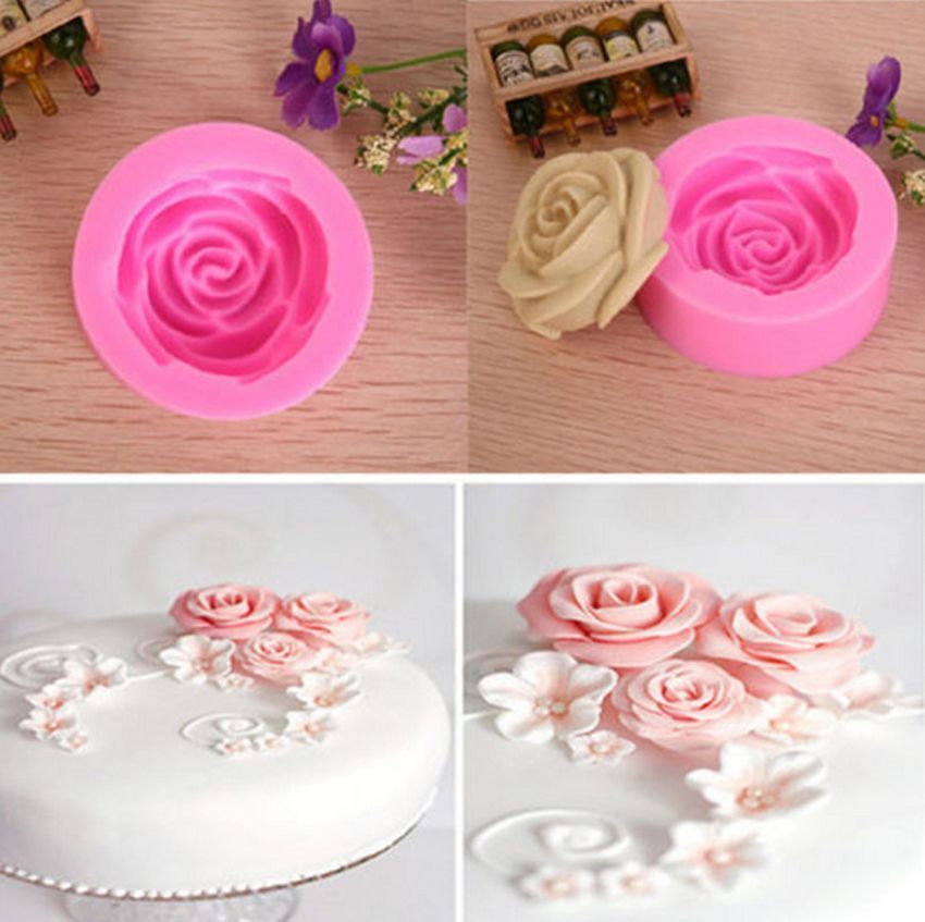 3d Rose Flower Baking Maker Tool Silicone Fondant Cake Chocolate Sugarcraft Mold Diy Fondant Cake Cake Decorating Tools Flower Molding