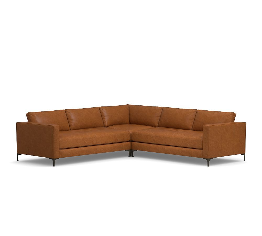 Jake Leather 3 Piece L Shaped Sectional Polyester Wred Cushions Vintage Caramel At Pottery Barn