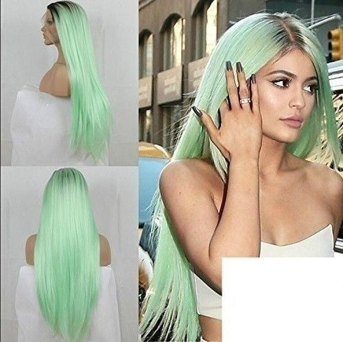 Kylie Jenner Wig Mint Green Ombre Long Straight Hair Halloween Cosplay Fairy New Kyliejennerwig Straight Hairstyles Long Straight Hair Wigs