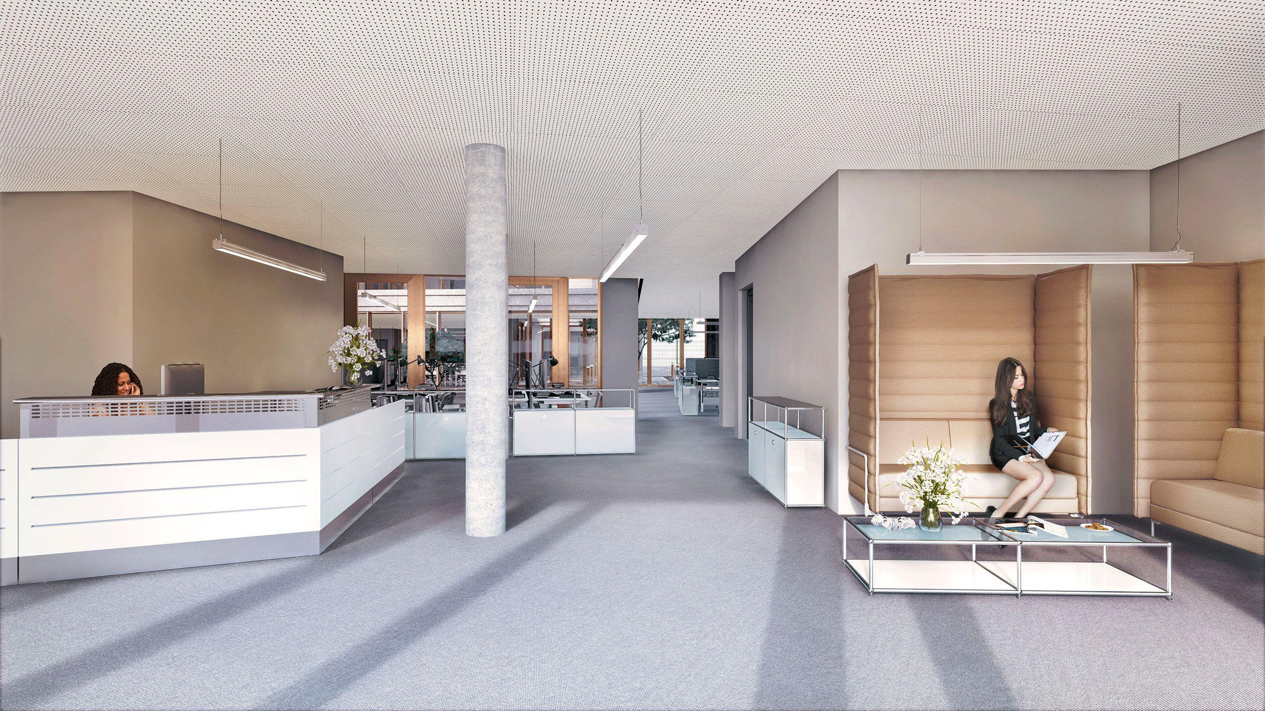 Architekturvisualisierung Berlin interior berlin invalidenstraße office lobby render