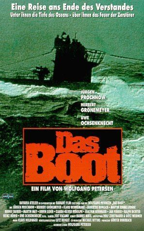 Das Boot ~ 1981 German movie, adapted from the 1973 German novel of the same name by Lothar-Günther Buchheim. Set during World War II, the film tells the fictional story of U-96 & its crew. It depicts both the excitement of battle & the tedium of the fruitless hunt, and shows the men serving aboard U-boats as ordinary individuals with a desire to do their best for their comrades and their country.