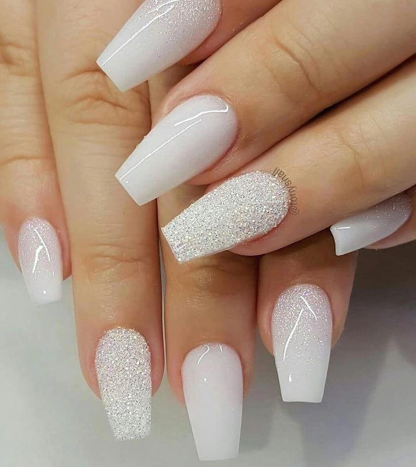 White Coffin Shaped Acrylic Nails With Silver Glitter Accent Nail Nailsacrylic White Acrylic Nails Glitter Accent Nails Trendy Nails