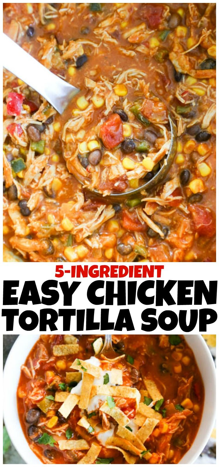 Easy {5 Ingredient) Chicken Tortilla Soup - A Dash of Sanity