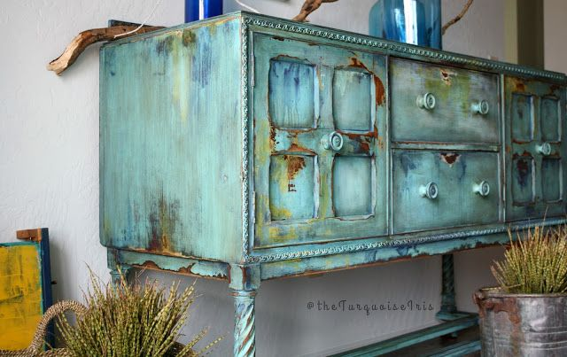 Beau The Turquoise Iris ~ Vintage Modern Hand Painted Furniture