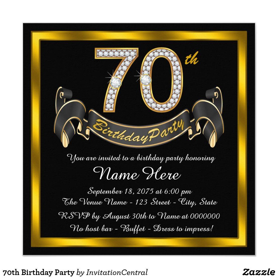 70th Birthday Party Invitation Zazzle Com 80th Birthday Invitations 60th Birthday Party Invitations 40th Birthday Party Invites