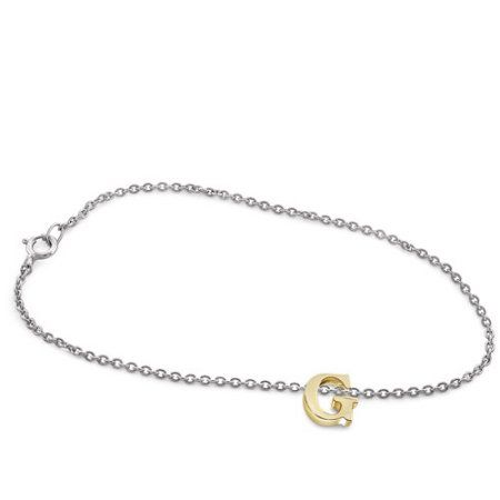 JewelersClub Select Your Initial A TO Z Charm Bracelet in Gold over Silver