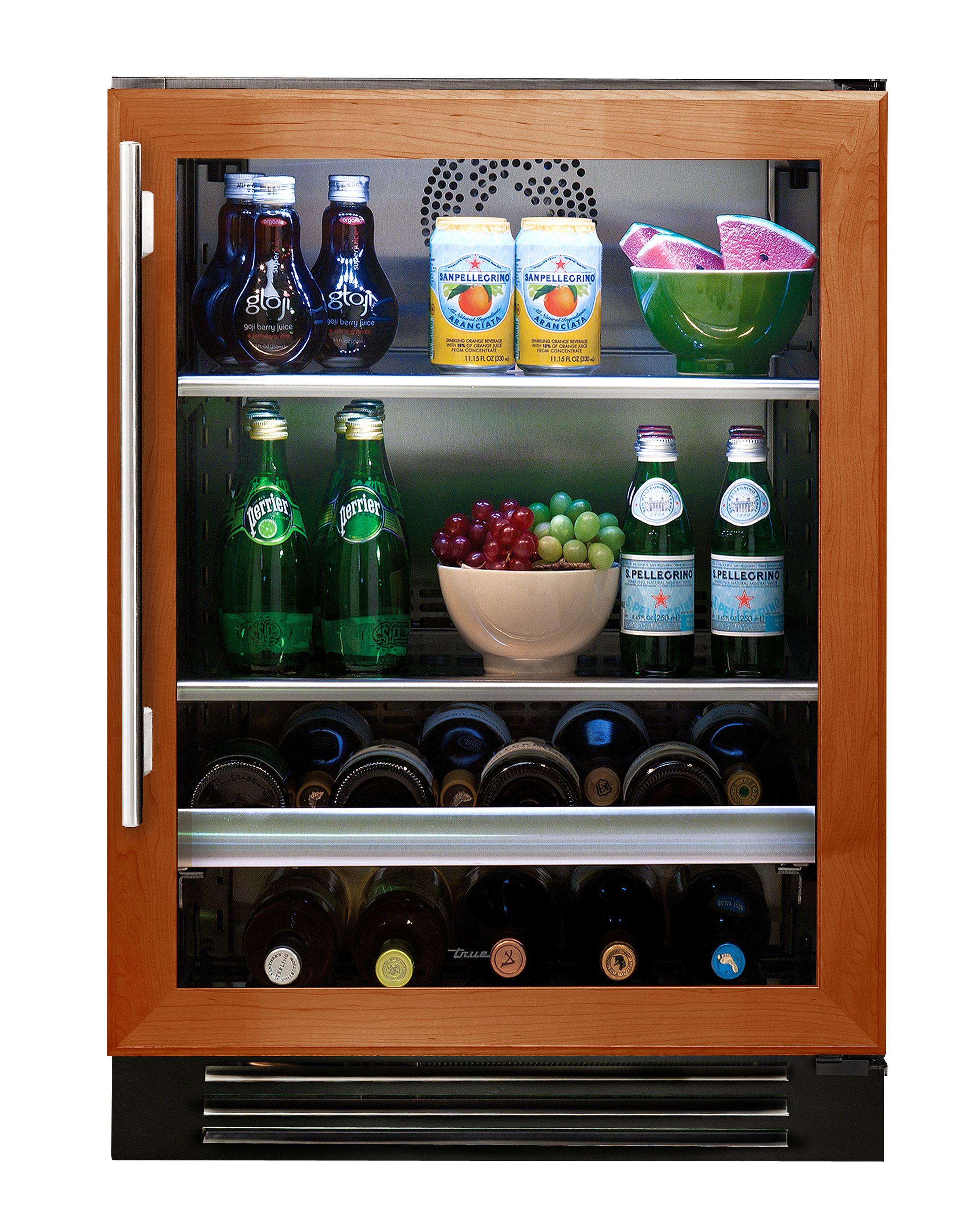 """True 24"""" Beverage Center Overlay Glass Door Beverage"""