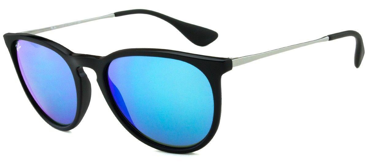 67ac8be7f9155 Ray-Ban Erika RB4171 - Espelhado - Preto Azul - 601-55 54   Óculos ...
