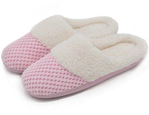 ULTRAIDEAS Womens Soft Gridding Coral Velvet Short Plush Lining Slip-on Memory Foam Clog Indoor Slippers