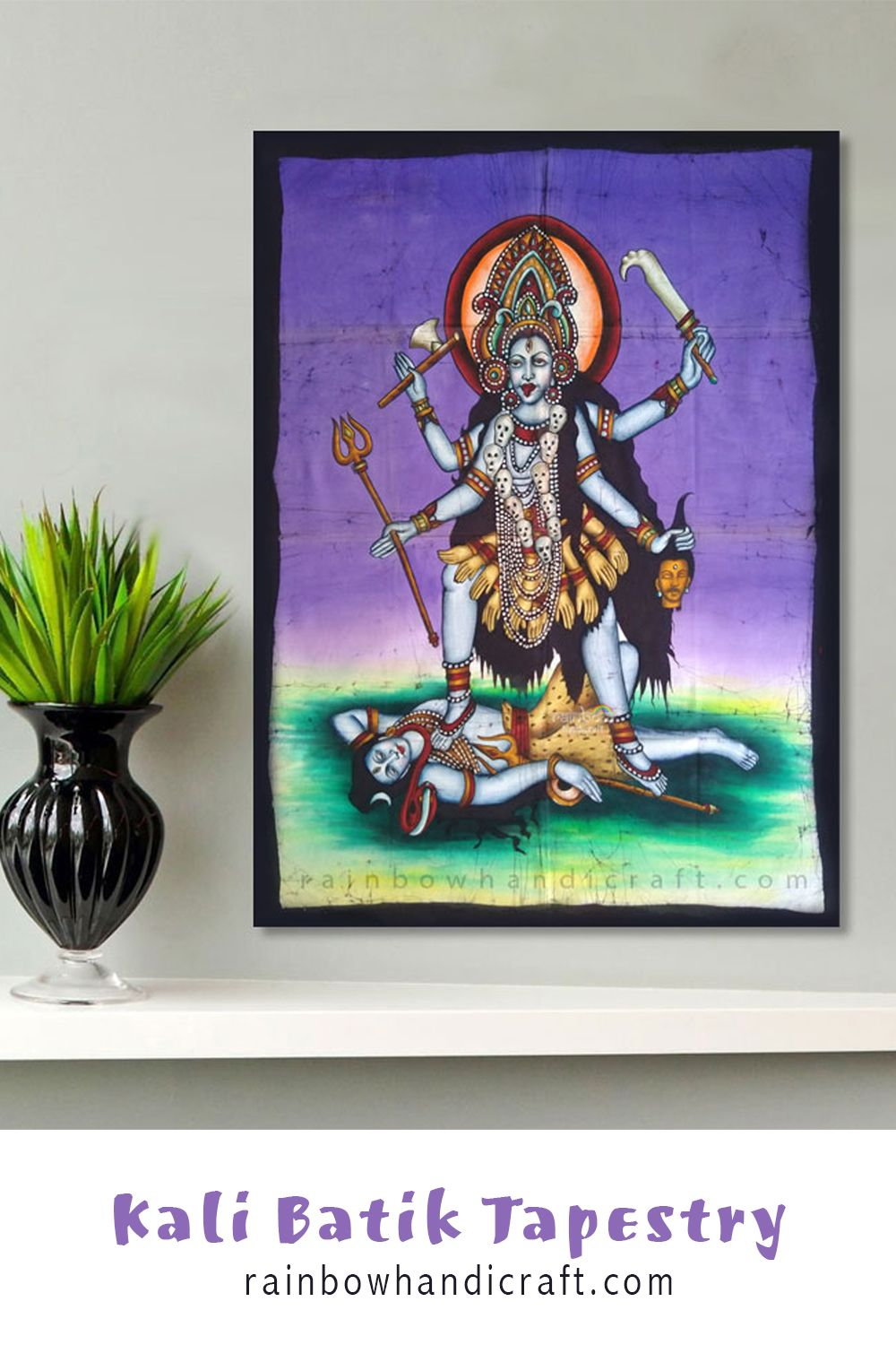 Lord Vishnu Hindu God Religious Cotton Squence Poster Wall Hanging Thro Tapestry