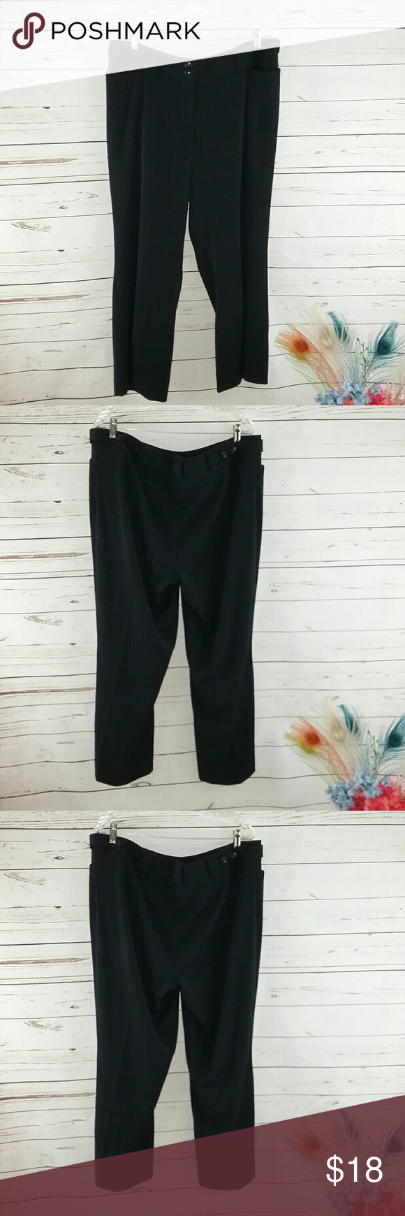 New Lane Bryant Black Ladies Slacks Pants Sz 18 This is a pair of ladies Lane Bryant new with tags black trouser career pants. They have front flap Pockets belt loops and front zip. They are sold new with tags they are 64% polyester, 32% rayon, and 4% spandex. They are machine washable Lane Bryant Pants Trousers