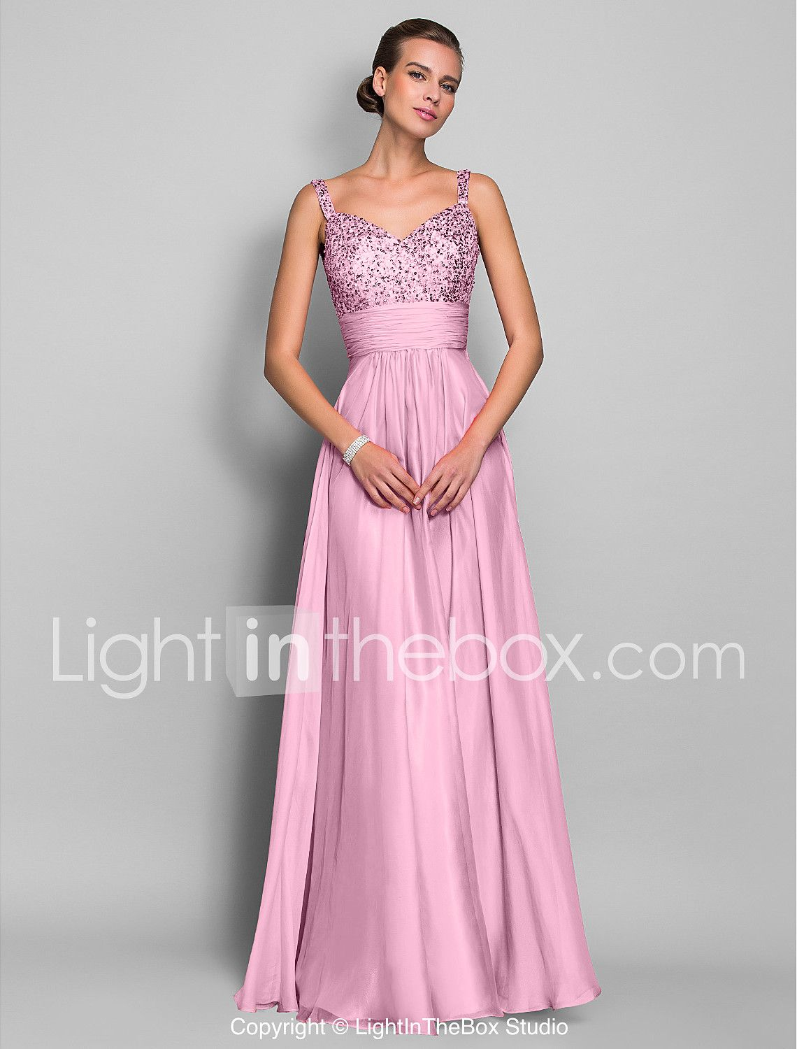 Sheath column spaghetti straps floor length chiffon sequined prom