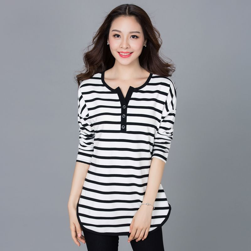 1ab2721baa3 Plus Size 4XL Cotton Striped Women T Shirt 2016 New Spring Autumn Woman  V-Neck