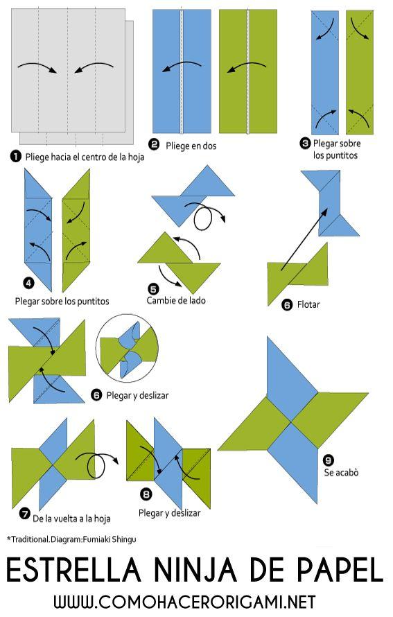 Shuriken Origami Paso A Paso Estrellas De Papel Origami Origami Paso A Paso Estrellas Ninja