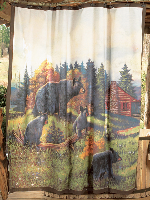 Black Bear Lodge Shower Curtain In 2020 Rustic Shower Curtains
