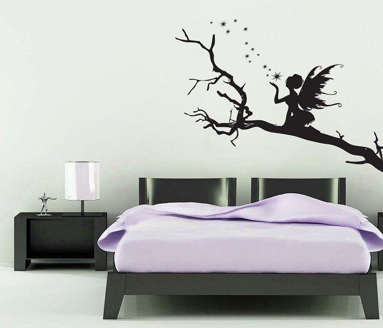 Stencil per pareti fata albero wall stickers girl room for Stencil per pareti
