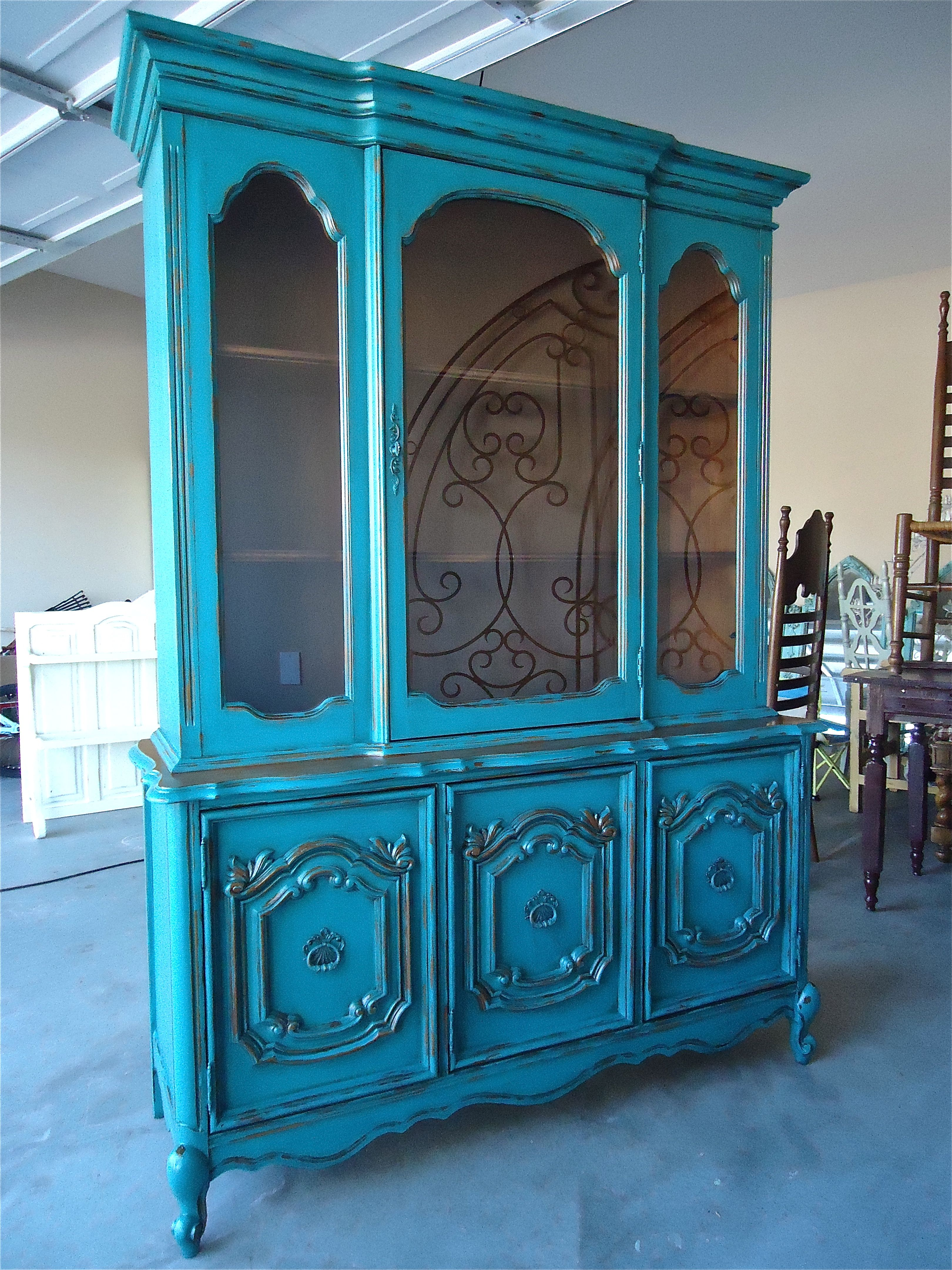 Shabby Turquoise Hutch Home decor furniture, Shabby