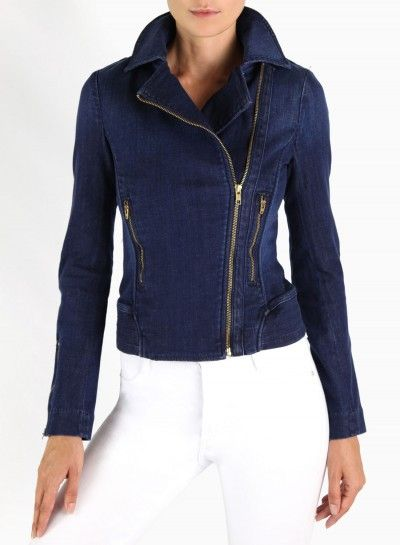 James Jeans Moto Jacket in Coastal: as seen on @Jennifer Rand BelledeCouture | Click now to shop!