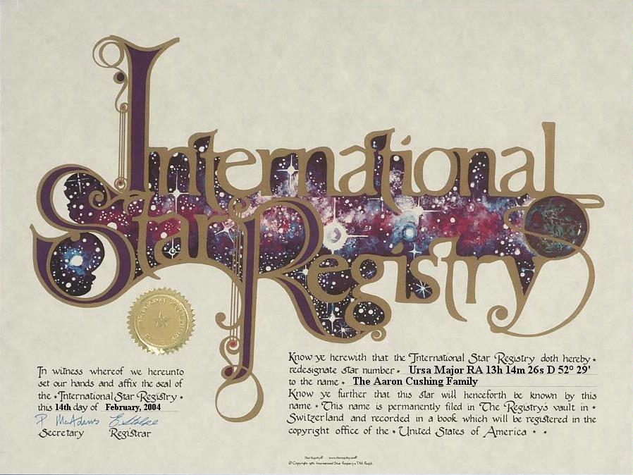 The Aaron Cushing Family - Ursa Major - Name a Star : Buy a Star : International Star Registry : Order@ starregistry.com